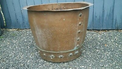 Large original old Victorian style riveted copper garden planter pot log bucket