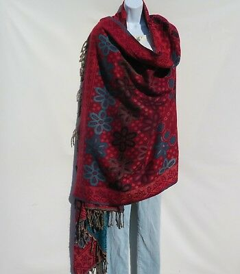 Yak Wool|Shawl/Throw/Wrap |Handloomed|Reversal|Flora|Base Color: Red
