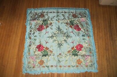 Vintage BROCADED FLOWERS Silk Piano Shawl/Table Cloth, Blue Floral & Butterfly