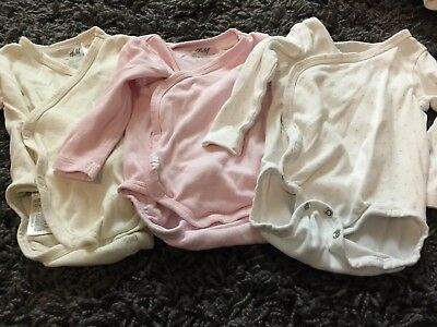 H M 0 3 2 4 Months Baby Girls Wrap Around Long Sleeved Vests