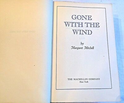 """""""GONE WITH THE WIND"""" Margaret Mitchell BOOK CLUB EDITION 1936 HARD COVER BOOK"""