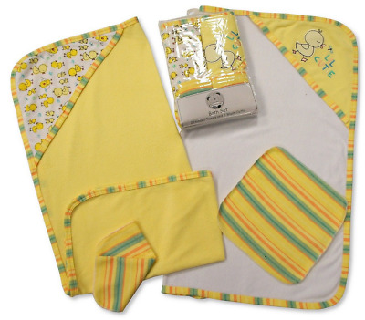 Pack of 4 Baby Bath towel set, 2 Baby Hooded Towel and Washcloths set