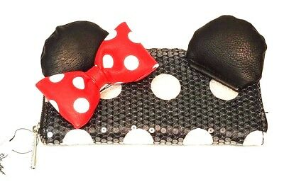 Loungefly Disney Parks Exclusive Minnie Mouse Bow Sequin Zip Around Wallet NWT
