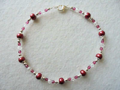 Magnetic Ankle Bracelet Cranberry Red Beads Crystals Silver Plated 9½