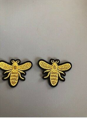 2 Bee patches badge aplique motif embroidered patch gucci inspired