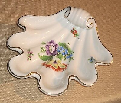 Vintage Porcelain Shell Dish c.1950s HEREND Hungary 7444 Sign Floral Decor 698k