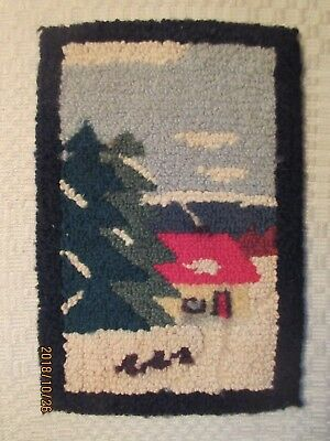 Vintage Hand Hooked Colorful Wool Mat Winter House Grenfell type