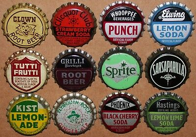 Vintage soda pop bottle caps Lot of 12 ALL DIFFERENT Mix #60 cork lined unused