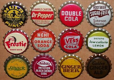 Vintage soda pop bottle caps Lot of 12 ALL DIFFERENT Mix #45 cork lined unused