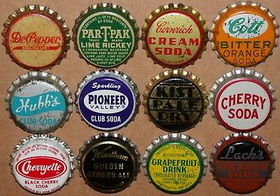 Vintage soda pop bottle caps Lot of 12 ALL DIFFERENT Mix #40 cork lined unused