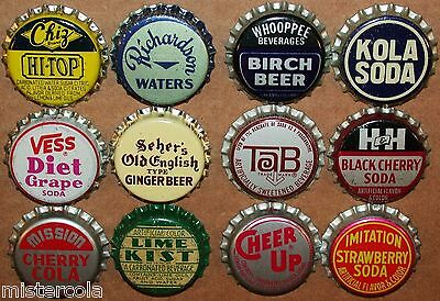 Vintage soda pop bottle caps 12 ALL DIFFERENT cork lined mix #3 new old stock
