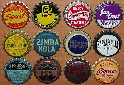 Vintage soda pop bottle caps Lot of 12 ALL DIFFERENT Mix #77 cork lined unused