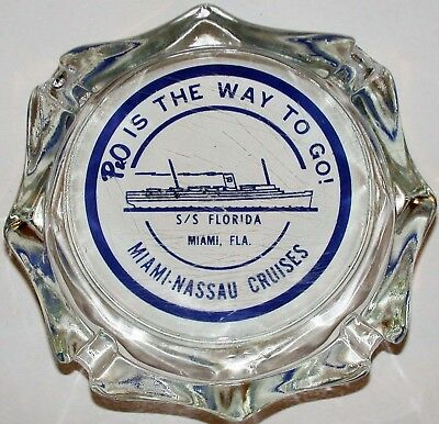 Vintage glass ashtray  P and O IS THE WAY TO GO steamship pic S S Florida Miami