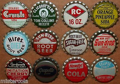Vintage soda pop bottle caps 12 ALL DIFFERENT cork lined mix #2 new old stock