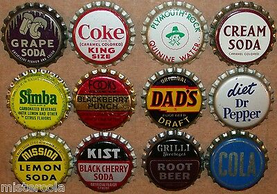 Vintage soda pop bottle caps 12 ALL DIFFERENT cork lined mix #10 new old stock