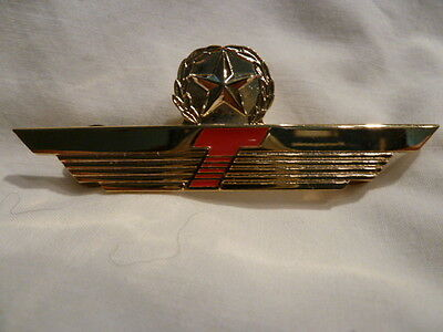 Donald J. TRUMP AIRLINE Obsolete PILOT WING w/ STAR METAL GOLD RED ORIGINAL L@@K