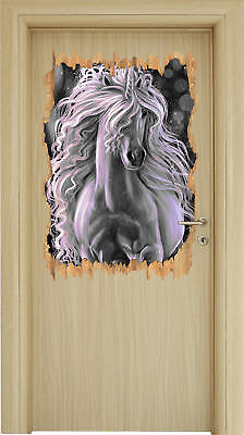 Trapendes Blanc Licorne B&w -3d-look Holzbruch Sticker Mural Autocollant-Sticker