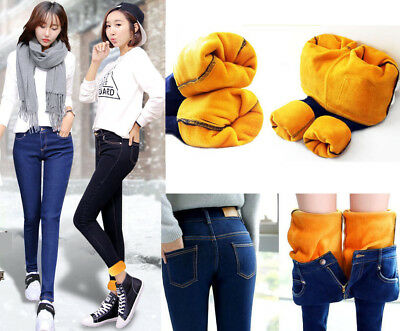 Women's Winter Slim Pants Thick Thermal Warm Nap Jeans High Waist Trousers