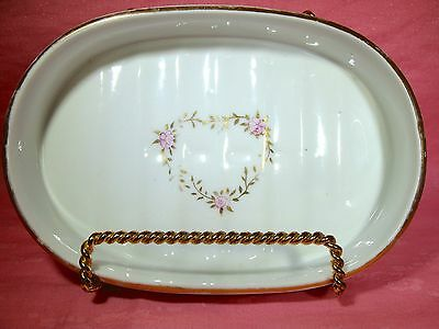 Lovely Gold Heart Pink Rose~Ceramic Oval Soap Dish Gold Trim edges
