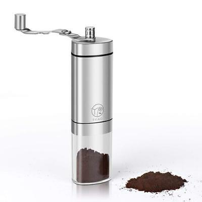 Manual Coffee Grinder Conical Burr Mill Brushed Stainless Steel New