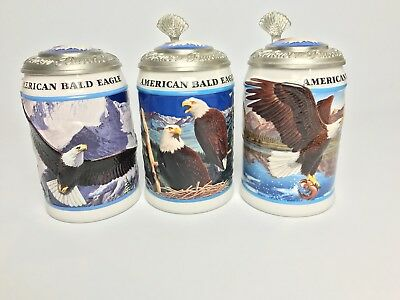 Anheuser Busch BUDWEISER American Bald Eagle Series Steins Lot Of 3