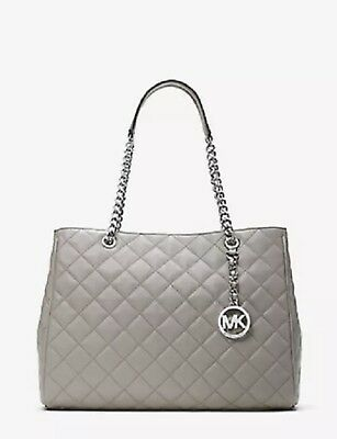bf153e3d627d NWT Michael Kors Susannah Large Quilted Leather Tote Shoulder Bag - Pearl  Grey