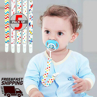 Baby Pacifier Clip 5-Pack, Babies Holder- Safe Strap/Leash - Lead free - [USA]