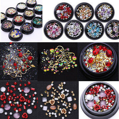 3D Nail Art Rose Rhinestones Jewelry Gems Mix Decoration Glitter Manicure Tools