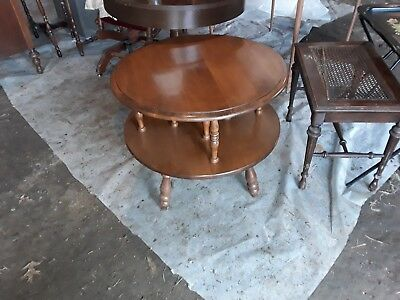 Vintage Round Maple Two Tier End Table Side Table Pedestal Stand Colonial  Style