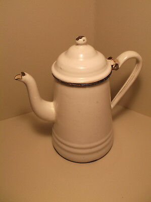 Antique Vintage White Enamel Coffee Pot French Style Fancy Spout