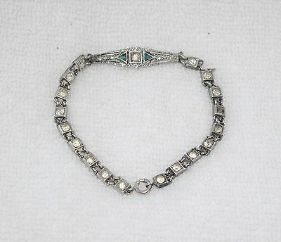Antique Vintage 1910's 20's Art Deco Sterling Silver Diamond Emerald Bracelet