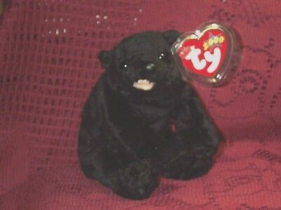TY Beanie baby babies Black Bear Cinders Sitting 4-30-2000 retired mint tags 4""