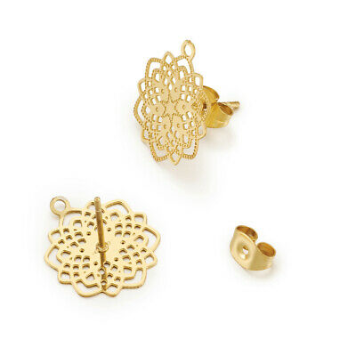 10 Gold 304 Stainless Steel Filigree Flower Earring Post Loop Stud Findings 17mm