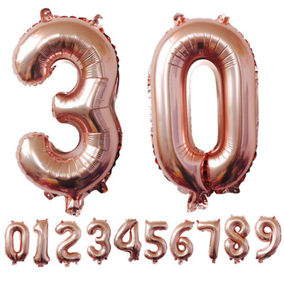 0-9 Rose Gold Number Foil Balloons Large Digit Helium Balloon Wedding Decoration