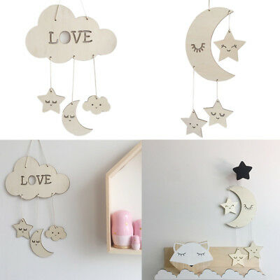 Wooden Moon Cloud shape Wall Hanging Pendant Ornament Children's Room Decoration