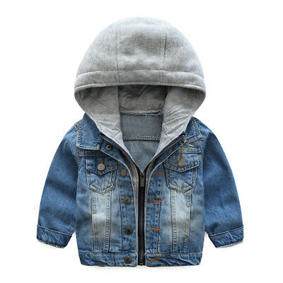 Kids Baby Infant Boy Winter Autumn Hooded Jeans Outerwear Coat Jacket Clothing