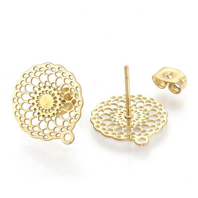 10pcs 304 Stainless Steel Earring Posts Filigree Round Stud Findings Gold 16mm
