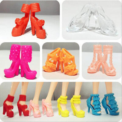 Party Dress Outfits Clothes Daily Wear Dance Shoes For Barbie Doll 10 Pairs