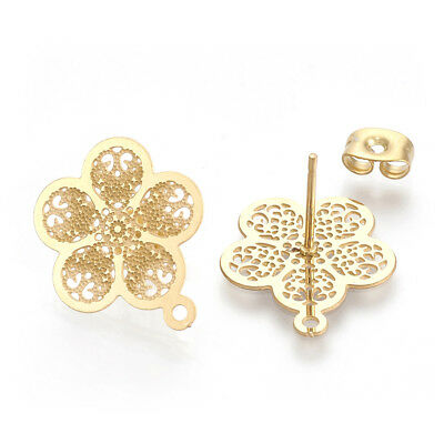 10pcs Gold Tone 304 Stainless Steel Flower Earring Posts Stud Findings Loop 18mm