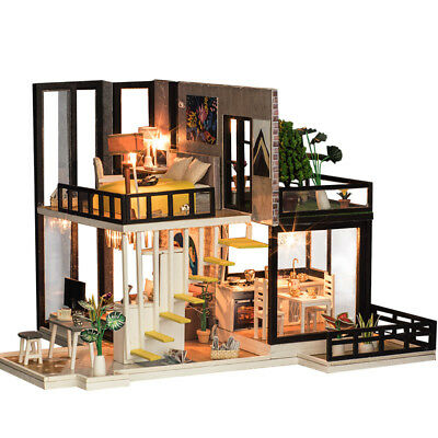 Miniature Dollhouse DIY Handcraft Kit Furniture Wooden House w/Lights Xmas Gift