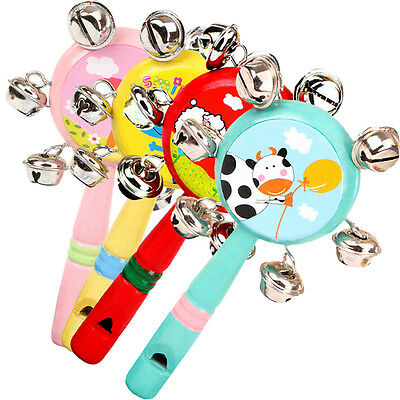 Whistle Hand Rattles Cartoon Animal Wooden Hand Bells Baby Kid Musical FO