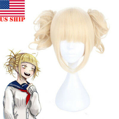US!My Hero Academia Himiko Toga Light Blonde Ponytail Cosplay Wig CapCostumeProp