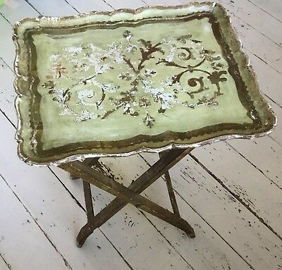 SALE Antique Italian Folding Perfectly Worn Wood Folding Tray Table Occasional