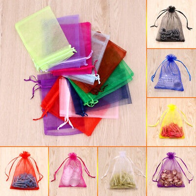 100 Pcs Organza Wedding Favors Gift Jewelry Candy Beads Drawstring Pouch Bag AU