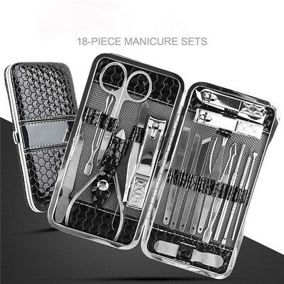 18 Pcs Nail Care Manicure Pedicure Set Home Travel Grooming Stainless Tool Kit