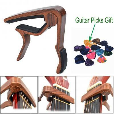 Acoustic Classic Electric Guitar Capo - Wooden Clamp- 5pcs Guitar Picks for Free