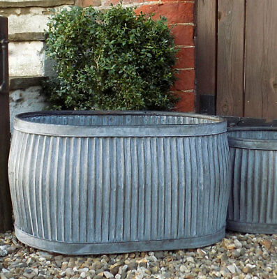 Large vintage style galvanised metal grey oval dolly tub garden planter pot