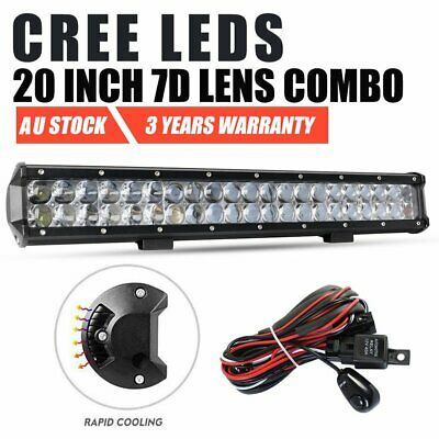 20inch 7D CREE LED SPOT FLOOD Work Light Bar Wiring Loom Harness Kit Offroad 4WD