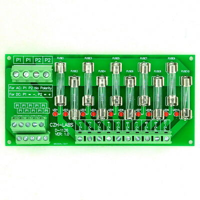 Panel Mount 10 Position Power Distribution Fuse Module Board, For AC/DC 5~48V