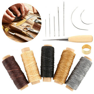 14PCS Leather Craft Tool Kits Hand Sewing Stitching Threads Punch Carving Needle